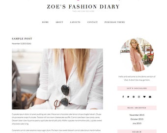 "Responsive Wordpress Blog Theme ""Zoe"" - Feminine Self-Hosted Wordpress Blog Theme"
