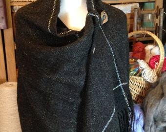 ALPACA-Wool-Mohair Handwoven Shawl, Handwoven Throw, Lap Blanket, Wrap Custom Blended, Handspun, Black Sparkle with blue/lime green edges
