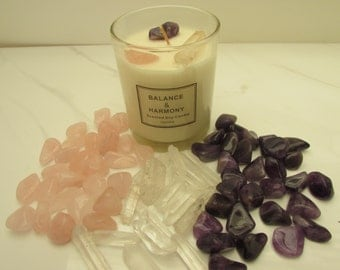 SALE ~ Crystal Candle, REIKI-CHARGED Soy Candle - Lightly Scented Vanilla
