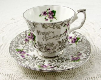 Elizabethan Happy Anniversary Tea Cup and Saucer, Silver Chintz with Purple Flowers, Anniversary Gift
