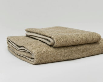 Organic Linen Cotton Terry Bath Towel in Natural