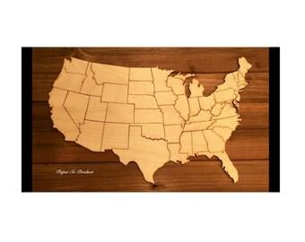 United States Map Etsy - Us map puzzle wood