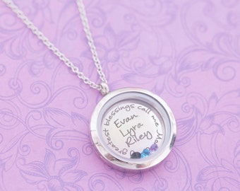 Stainless Steel Floating Locket - Engraved Locket - Origami Owl - Glass Locket - Engraved Jewelry - Mom Necklace - Birthstone Jewelry