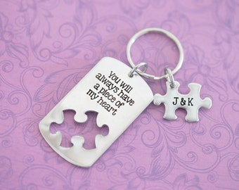 You Will always Have a Piece of My Heart - Memorial Keychain - Engraved - Puzzle  - Custom Engraved