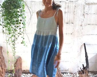 Indigo Ombre Sun Dress/ Indigo Beach Dress/Indigo Ombre Summer Dress /Indigo Handdyed Dress/ Indigo Dress/Adjustable Shoulder Strap Dress