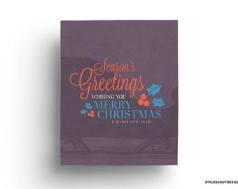 Christmas printable art - Season's Greetings, Christmas decor, wall art - 60% OFF