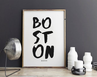 Boston Print, Boston Poster For Office Decor, Gifts, Work Desk, City Prints Part 48