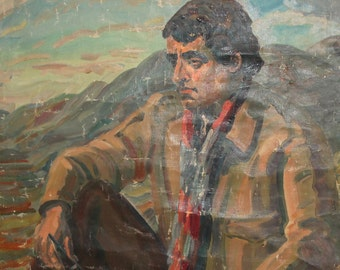 1972 Large Impressionist Man Portrait Oil Painting Signed