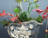 Cacti succulent or herb planter pot with ancient Aztec mythological design