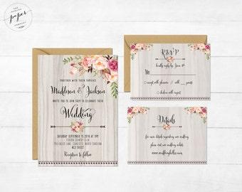 Floral Wedding Invitation Printable Wedding Invitation Set Rustic Wedding Invite Boho Wedding Invite Peonies Wedding Invite Floral Boho Set