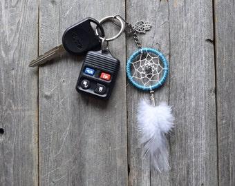 Dreamcatcher Keychain - Hamsa - Fatima - Purse Charm - Bright Blue - Boho Keychain - Small Dream Catcher - Key chain - Hippie - Bohemian