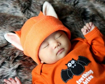 Naruto Hat - Orange Fox Hat - Fox Hat - Fox Fleece Hat - Naruto Cosplay - Naruto Baby - Photo Prop Hat - Baby Shower Gift - Newborn Gift Hat