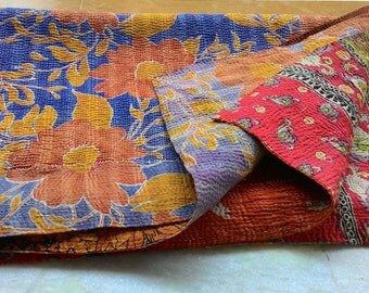 Reversible vintage kantha quilt from India/ throw/ blanket/ sari quilt/ boho/ coverlet/ chic/ home decor/ bed and bedding/Ready to Ship!!