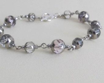 SUMMER CLEARANCE SALE-Violet Links Bracelet, silver bracelet, beaded bracelet, beaded silver bracelet