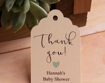 25 Thank you Tags, Custom Thank you Tags, Thank you Favor Tags, Baby Shower Favor Thank You Tags