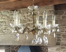 "Ornate vintage French bronze chandelier / ceiling light with heavy cut glass teardrops and glass ""wax catchers"""