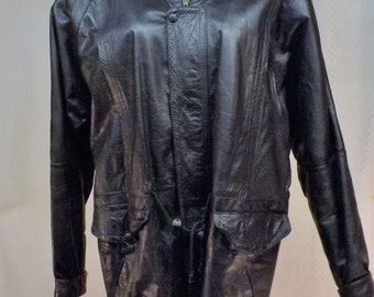 80s Black Leather Jacket or Coat  Fully Lined  Size L  by Alibada
