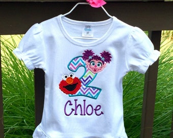 Abby Cadabby and Elmo 2nd Birthday-Second Birthday T-Shirt~Personalized Embroidered