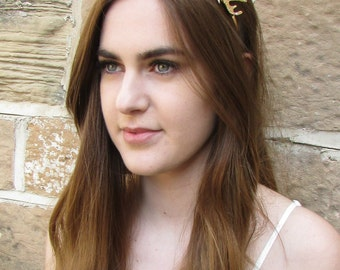 Gold Antler Headband Vintage Game of Thrones Woodland Bridal Medieval Hair Wedding Deer Hair Crown Headpiece Headdress Dress Q44