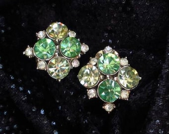 Vintage Earrings green citrine rhinestones gold Tone Clip mid-century faceted #Fashion sparkly formal prom wedding gift International seller