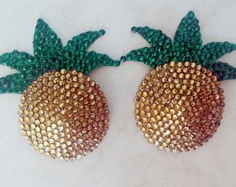 RHINESTONE PINEAPPLE PASTIES Crystal Glitter Jewel Gold Green Tropical Burlesque Dancer Erotic Costume Exotic Showgirl Dancewear Samba