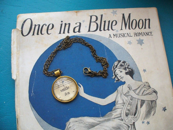 Vintage Sheet Music Necklace, Music and Dance, Re-Purposed Necklace, Music Note Necklace, Smile Necklace, Sheet Music, MarjorieMae