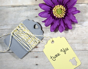 Yellow Baby Shower Tags Set of 20 - Personalized Neutral Favors - Die Cut Baby Suit Thank You Tags - Lemon Shower Labels - Neutral Party Tag