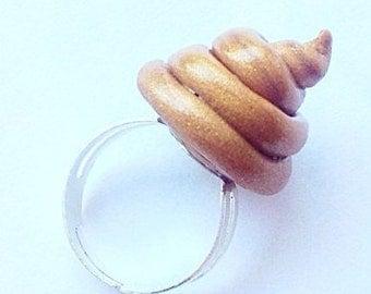 Golden brown poop ring,Poop jewelry,Cute poop ring,Dog poop ring,Poop art,Kawaii poop jewelry,Handmade poop ring,Brown poop ring,Fun ring