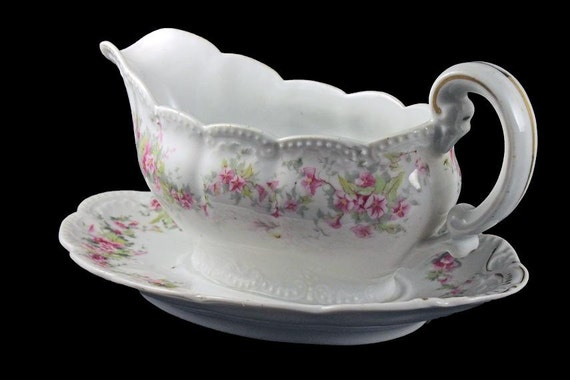 Antique Gravy Boat, Bassett Limoges Austria, Attached Underplate, White with Pink Flowers, Morning Glories