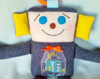 CUTIE-BOT BRADLEY handmade robot, 11 inches, grey robot, soft robot plushie, toddler gift, baby shower gift