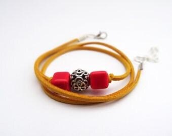 Triple wrap bracelet,retro bracelet,Yellow and red bracelet,Unique bracelet,leather bracelet woman,leather wrap bracelet,cheap bracelets