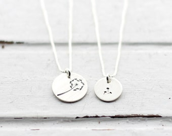 Tiny Mother Daughter Necklaces, Hand Stamped Dandelion Disc Pendant, Sterling Silver Disc, Mommy and Me, Mother's Day Gift, Dandelion Fluff