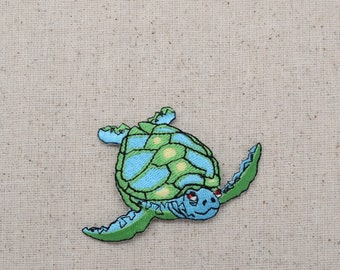 Sea Turtle - Facing Right - Blue and Green - Iron on Applique - Embroidered Patch - 693687AR