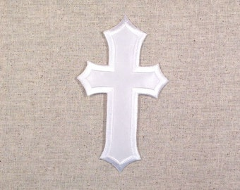 Large - Ornate Pointed White Cross - 3 x 5 INCH - Iron on Applique - Embroidered Patch -