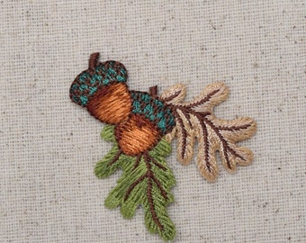 Two Acorns - Brown and Green Fall Leaves - Iron on Applique - Embroidered Patch - 1511941A