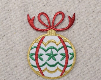 Christmas - Ball Ornament - Red/Green/Gold - Embroidered Patch - Iron on Applique - 695577-A