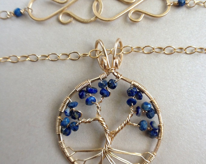 Lapis Lazuli Gold Tree-Of-Life 9th Anniversary September Birthstone December Birthstone Protection Stone Necklace Healing Stone Energy Stone