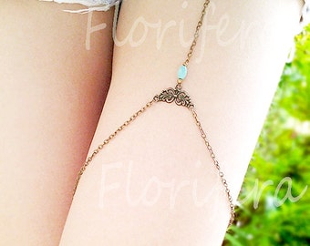 Boho Thigh Chain  leg chain leg jewelry gypsy leg wrap turquoise
