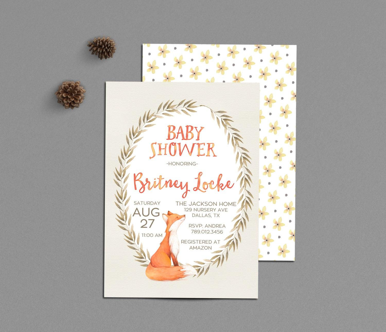 fox baby shower invitation printable woodland theme fall