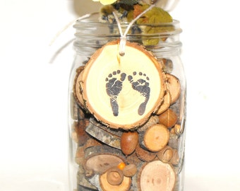 Rustic Baby shower wood slice Decor ~ Baby Feet Charms ~ 10 Baby footprints ~ woodland baby shower hang tags ~ newborn baby feet print