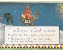 Art Deco Christmas Card 1920s Ephemera Color Lithography Wisemen The Star Season's Best Wishes