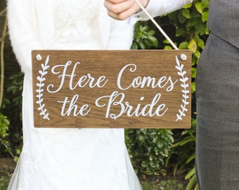 Here Comes The Bride Sign, Rustic Wooden Wedding Signs,  Wedding Decor, Boho Wedding, Photo Prop Signs, Bridal Gift. Flower Girl Sign