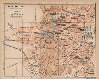 1923 Montpellier France Antique Map