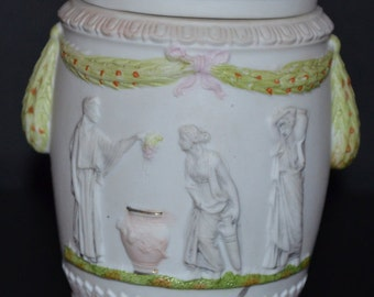Antique Schafer Vater Women's Humidor Multi Color Tobacco Jar Multi Image Cameo Relief German Bisque Porcelain Hand Painted