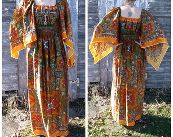Gorgeous Orange Tile Tapestry Print Vintage 1970s Bohemian Scarf Dress Small Large