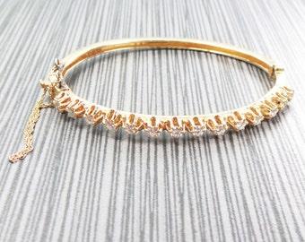Vintage Diamond Bracelet 14K Gold Vintage Bangle Bracelet Heavy Yellow Gold and Diamond Bracelet Hinged Bangle Diamond Bangle Bracelet