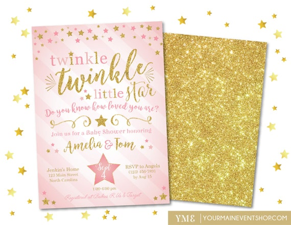 Twinkle Twinkle Little Star Invitation, Twinkle Twinkle Baby Shower Invite, Pink and Gold Star Invite, Girl Baby Shower • BS-T-01