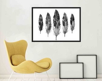 Black and White Feather wall art Feather Watercolor Feather prints Watercolur Feather Art Feather Poster Large Feather Printable