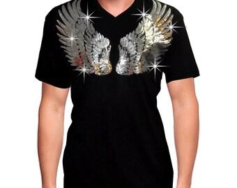 Bling Bling Men Sequin Angel wings Design short sleeve Soft Fabric