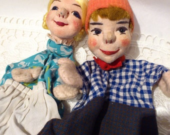 1920s Set of 2 Vintage Hand Puppets